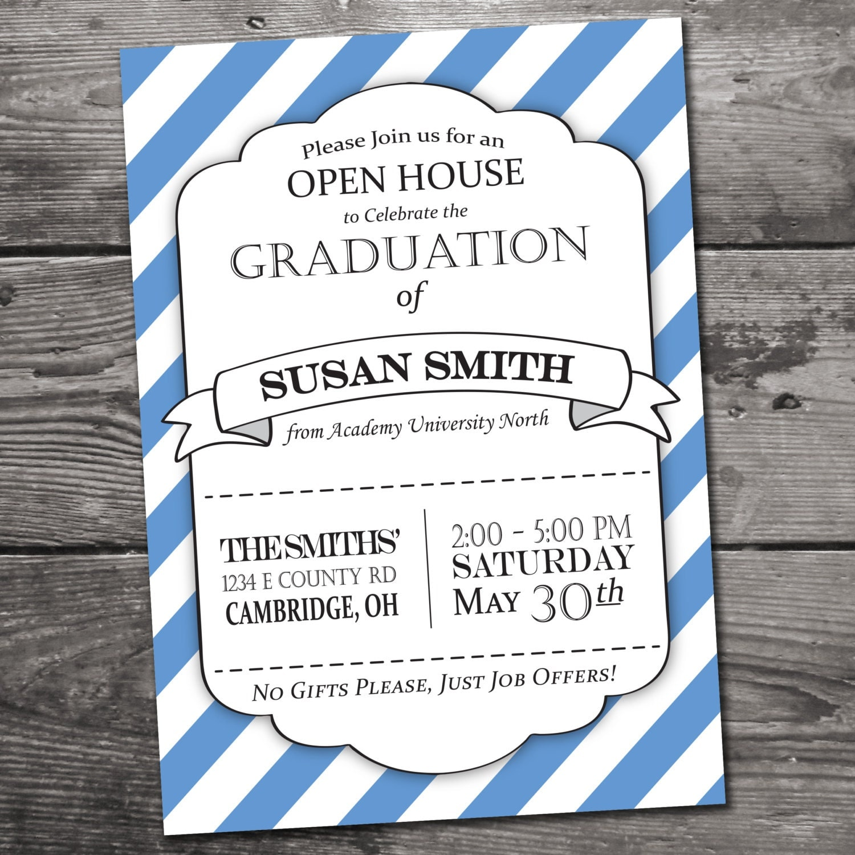Customizable graduation open house invitation by houndprintdesign for Graduation open house invitation