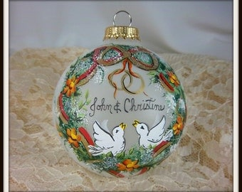 Wedding Ornament, Anniversary Ornament, Two Doves, Wreath with Ribbon, Wedding Rings, Free Inscription