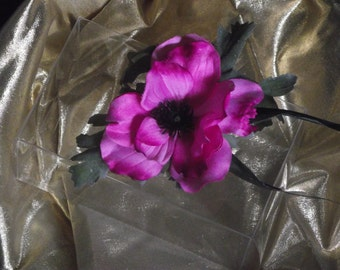 Buttonhole / corsage / hair flower - anemone - a highly realistic French anemone on a professional holder / clip