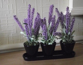 Artificial plants - A lovely trio of lavender arranged in black pottery vases on a matching tray