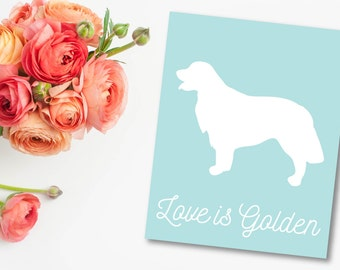 GOLDEN RETRIEVER PRINTABLE-Love Is Golden-Wall Art-Blue and White-Instant Download-pdf