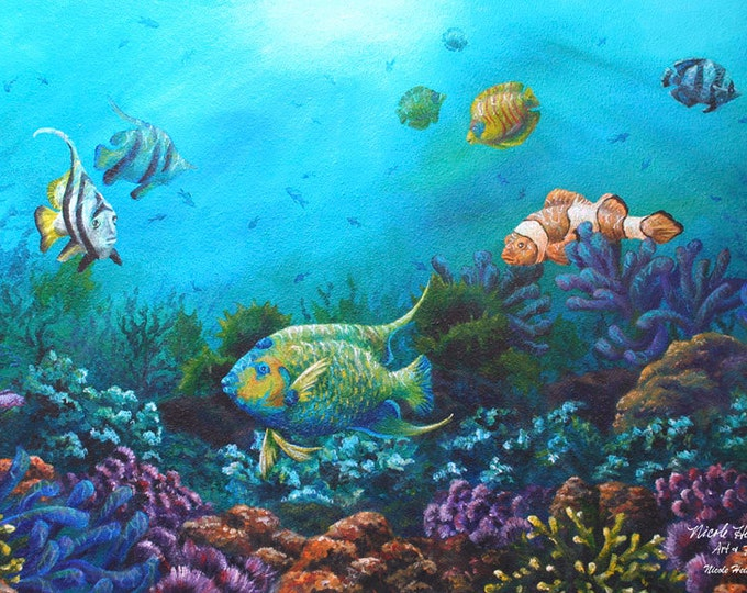 Ocean fish art Ocean scene Teal Decor Clown fish Under water scene Angel fish tropical scenery beach art Waters of Paradise Nicole Heitzman