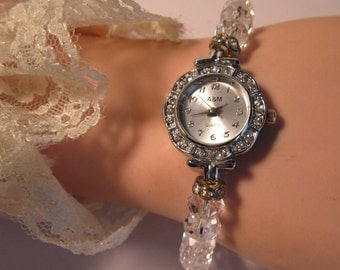 Vintage A&M Round Face Rhinestone Watch and Crystal Watch Band.    (#364)