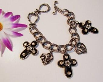 Silvertone, Rhinestone Cross and Heart Toggle Bracelet   (#363)