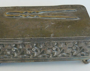 "Barbour's Quadruple Silver Plate, Repousse Trinket Box. ""Ladies Friend"""