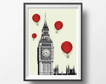 Vintage Big Ben and red ballons- poster wall art home decor - Retro vintage air ballons london city - old rustic vintage home decor - NG20