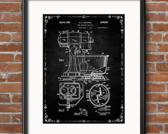 Patent Print Kitchen Mixer Poster, Kitchen Mixer Patent Kitchen Mixer Print Kitchen Art Kitchen Mixer Decor Kitchen Mixer Wall Art - 0437