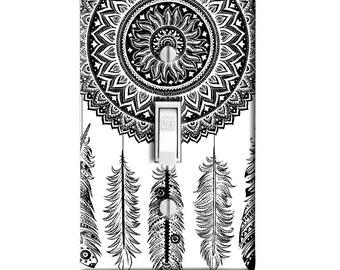 Home Decor Light Switch Cover-Mandala Henna Dream Catcher-Housewarming Gift-Lighting-Bedroom Decor-Bathroom Decor-Kitchen Decor-switch plate