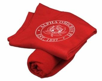 Alpha Omicron Pi Red Sweatshirt Blanket - White Print