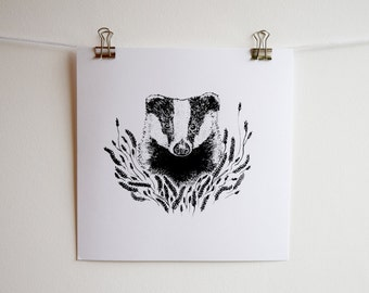 Badger and Grass Illustration, Square Black and White Screen Print