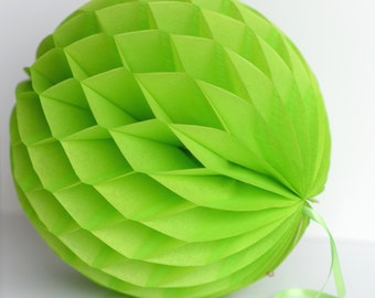Citrus green / Lime Tissue paper honeycombs -  hanging wedding party decorations