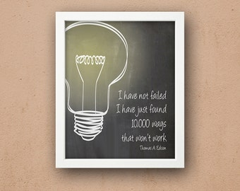 Thomas Edison Quote 5 x 7 or 8 x 10 PHYSICAL Wall Art Gift Poster Print Blackboard Chalkboard Light Bulb Modern Simple Delivered
