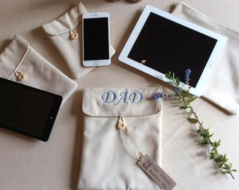 Media Case Luxury PERSONALISED Brushed padded cotton media cases Father's Day ipad kindle tablet