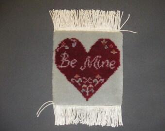Handmade hand knotted mini rug. pictorial miniature rug, Valentine' day, Valentine