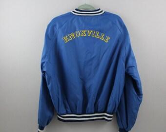 vintage blue KNOXVILLE snap up / nylon jacket  >> x large <<