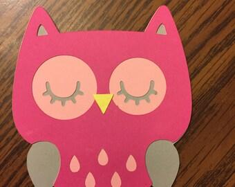 6 Cricut Die Cut Pink Owl Embellishments