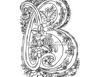 instant digital download coloring page letter D with