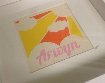 "Framed ""Sunshine"" personalised paper cut"