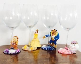 Disney beauty and the beast wine glass set