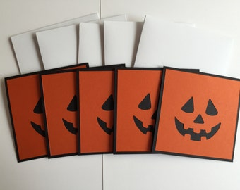 "Handmade Set of 5 Halloween Cards, Jack-O-Lantern 4""X4"""