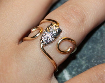 Trendy Owl Ring - Copper Wire, Silver Plated Owl, Adjustable Gold Coloured Bold Wire Ring #2
