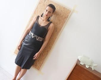 The Black Bird / skirt leather / Leather Skirt / Vintage / size 40