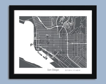 San Diego Zoom view map, San Diego city map art, San Diego wall art poster, San Diego decorative map