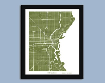 Milwaukee map, Milwaukee city map art, Milwaukee wall art poster, Milwaukee decorative map