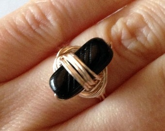 Black Bead Wire Wrapped Ring - Size 5.5