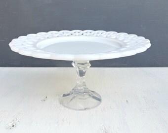 Romantic Milk Glass and Glass Dessert Stand, Serving Tray, Wedding Decor