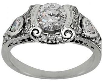 Art Deco Diamond Engagement Ring 0.75 Carat & 0.55ctw Diamonds 14k White Gold
