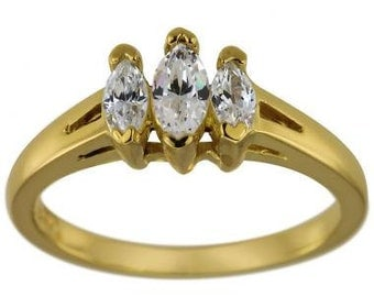 Marquise Diamond Engagement With Marquise Diamonds 14K Yellow Gold Ring 0.60ct