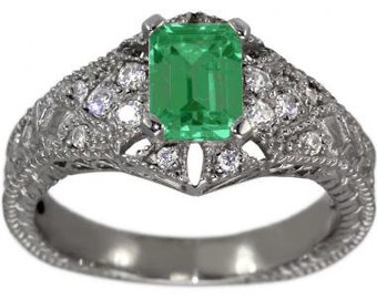 Emerald Engagement Ring With Emerald Cut Emerald In Vintage Filigree 14K White Gold Ring
