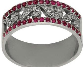 Diamond Wedding Band Sapphire Wedding Band Pave Diamond And Pink Sapphire 14K