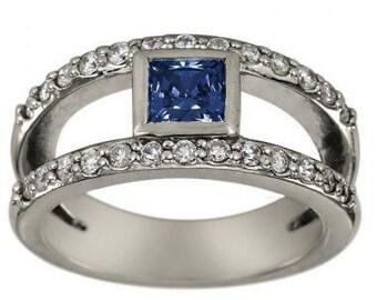Sapphire Diamond Ring With Bezel Set Square Sapphire In Split Shank Ring