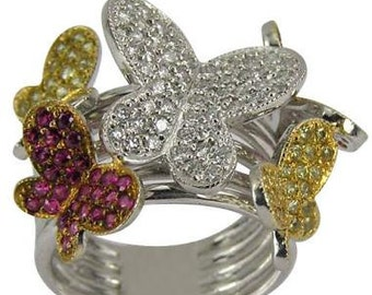 Butterfly Ring Diamonds Yellow Sapphire Pink Sapphire Butterfly Jewelry 14K Gold
