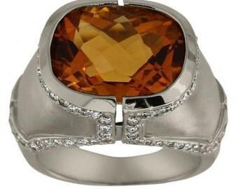 Cushion Citrine In Heavy Modern Diamond Ring 14Kt Gold