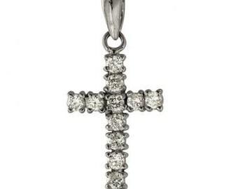 Gold Cross Diamond Cross Necklace In 14k White Gold With 0.50 Carat Diamonds