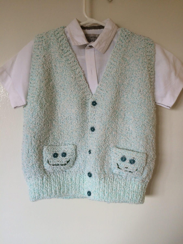 Hand Knitted Boys Vest Handmade Vest Boys Vest Green