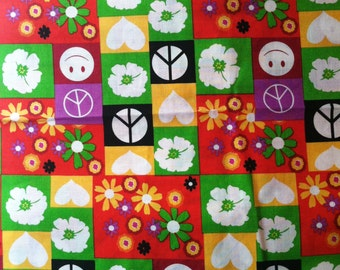 Cotton Fabric, 2 Yards, Peace, Flowers