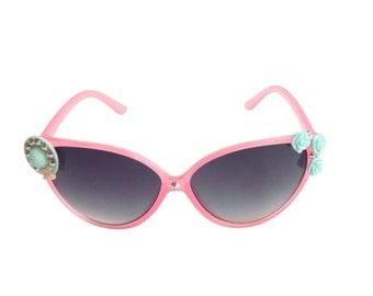 Pink Cat-eye Shape Cute Hat and Flower Kid Girl Sunglasses