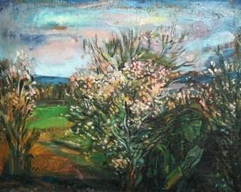 Impressionist landscape trees oil painting