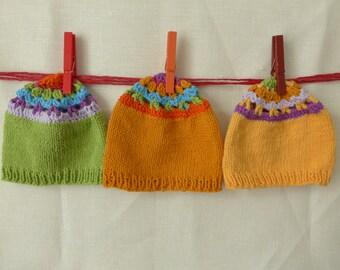 Baby knit hat beanie crochet mandala natural fibers cotton