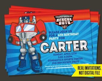 Transformers Invitation - Transformers Birthday Invitation - Transformers Rescue Bots