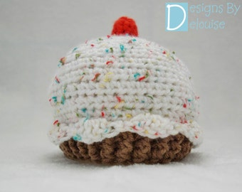 Cupcake Hat, Sizes: Newborn - Adult