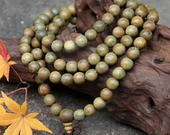 6mm/8mm/10mm Natural Nepal Green Sandalwood Wooden Beads 108 Mala Beads Buddhism Beads,Meditation Prayer Beads Japa Mala Buddha