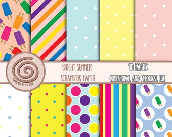 Bright Summer Scrapbook Paper - Ten pages - Popsicles, Polka Dots, Stripes - Digital Scrapbooking - Instant Download - Paper Pack, Printable