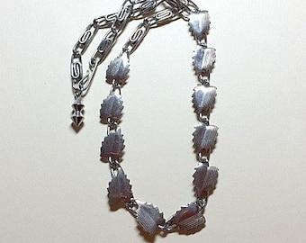 SALE Vintage silver leaf necklace leaf chain necklace silver necklace silver chain necklace leaves necklace modern necklace 1960s