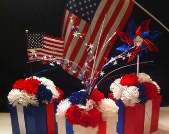 3 Piece Patriotic Floral Centerpiece Set