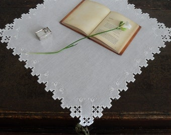 unique centerpiece Hardanger embroidery organic linen